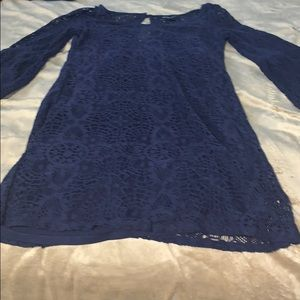 Navy blue lace bell sleeve dress